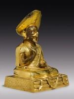A GILT COPPER ALLOY FIGURE OF CHANGKYA ROLPAI DORJE,  TIBET, 18TH CENTURY