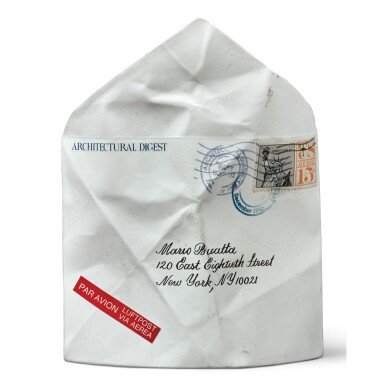 A PORCELAIN TROMPE L'OEIL ENVELOPE ADDRESSED TO MARIO BUATTA FROM ARCHITECTURAL DIGEST, DATED DECEMBER 1996