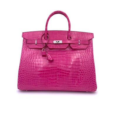 View 1. Thumbnail of Lot 304. Fuchsia Birkin 40cm in Shiny Porosus Crocodile with Palladium Hardware, 2009.