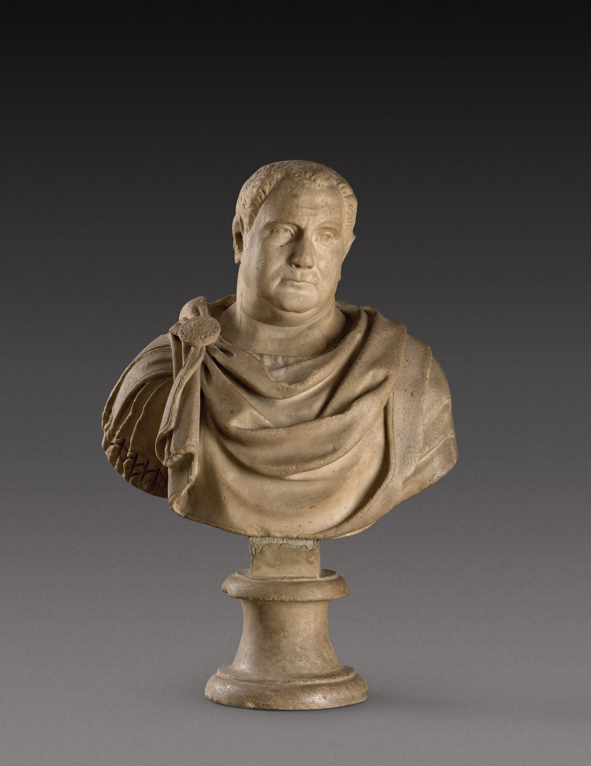 View full screen - View 1 of Lot 109. A Roman Marble Bust of a Man, circa 2nd Century, with restored head of Vitellius.