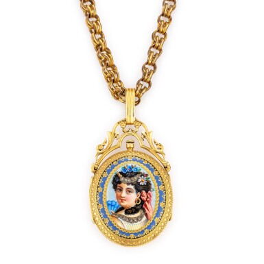 View 1. Thumbnail of Lot 4019. E. BRONNER | A GOLD, ENAMEL AND DIAMOND-SET HUNTING CASE KEYWOUND CYLINDER WATCH WITH ENAMEL DIAL AND GILT CHAIN, CIRCA 1860.
