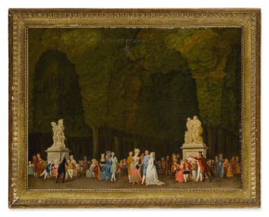 View 2. Thumbnail of Lot 615. Elegant figures in a park, some strolling in the foreground while others sit in groups and converse.