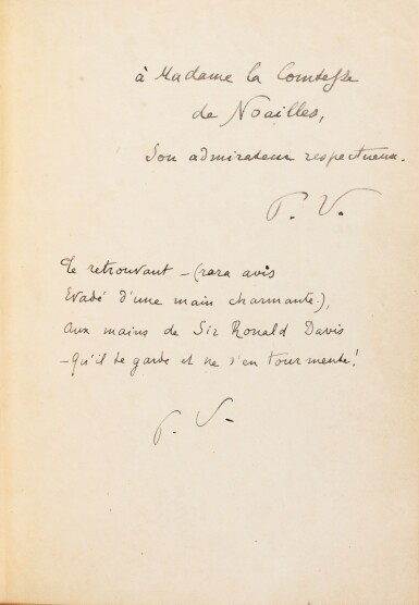 View 2. Thumbnail of Lot 316. Le Cimetière marin. Paris, 1920. In-4. Reliure de Pierre Legrain. Double EAS à A. de Noailles et R. Davis..