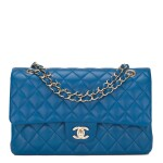 Chanel Blue Quilted Medium Classic Double Flap Bag of Lambskin Leather with Light Gold Tone Hardware