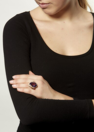 AMETHYST, PINK SAPPHIRE AND DIAMOND RING