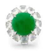 JADEITE, ICY JADEITE AND DIAMOND RING / PENDANT | 天然翡翠 配 天然冰種翡翠 及 鑽石 戒指 / 掛墜