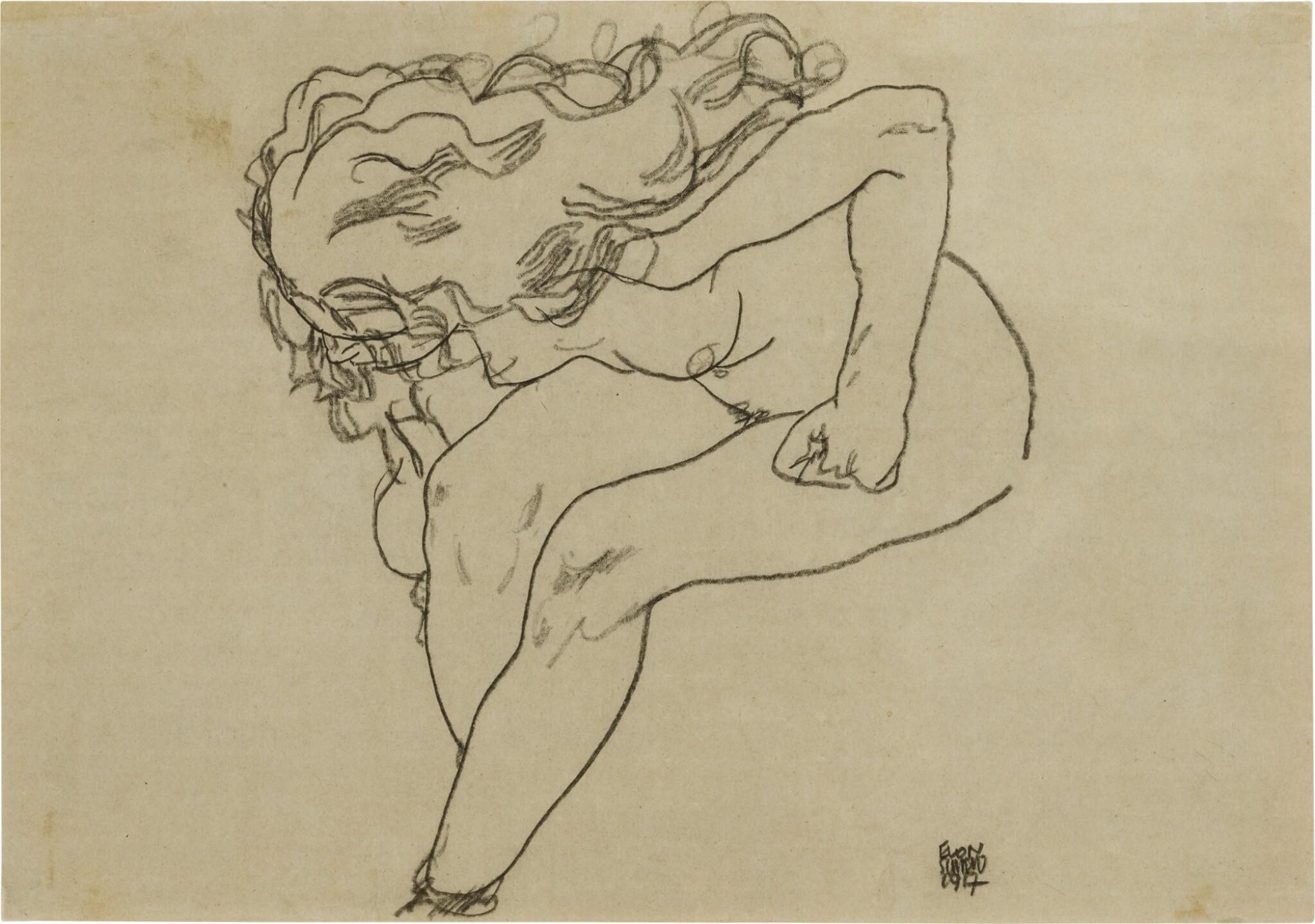 View full screen - View 1 of Lot 119. Sich niederbeugender Mädchenakt mit aufgelöstem Haar (Bending Nude Girl with Loosened Hair).