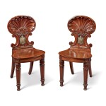 A PAIR OF WILLIAM IV BRASS-MOUNTED MAHOGANY HALL CHAIRS, POSSIBLY BY GILLOWS, CIRCA 1835