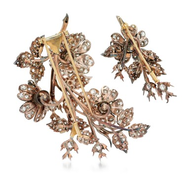 View 3. Thumbnail of Lot 212. TWO DIAMOND BROOCHES.