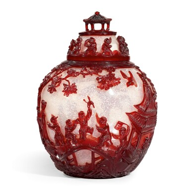 View 2. Thumbnail of Lot 3606. An extremely rare and superb ruby-red overlay Peking glass jar and cover Seal mark and period of Qianlong   清乾隆 雪霏地套寶石紅料庭園仕女嬰戲圖蓋罐 《乾隆年製》款.
