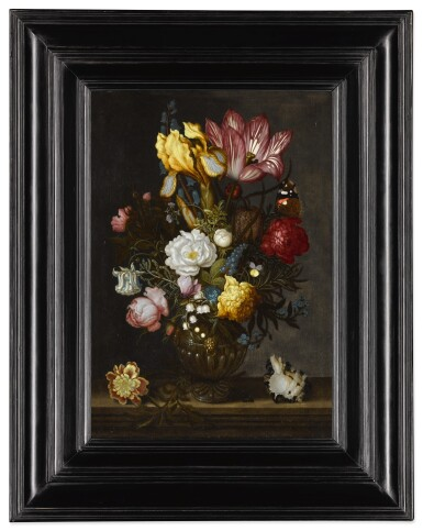 View 2. Thumbnail of Lot 38. A still life of white and red roses, a tulip, anemones, a hyacinth, a pansy, lily-of-the-valley, and other flowers in an ornamented glass vase on a hard-stone ledge, with a shell, a bluebottle and a Red Admiral butterfly.