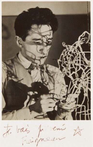 View 1. Thumbnail of Lot 64. MAN RAY | 'JEAN COCTEAU WITH SELF-PORTRAIT WIRE STRUCTURE', CA.1925.