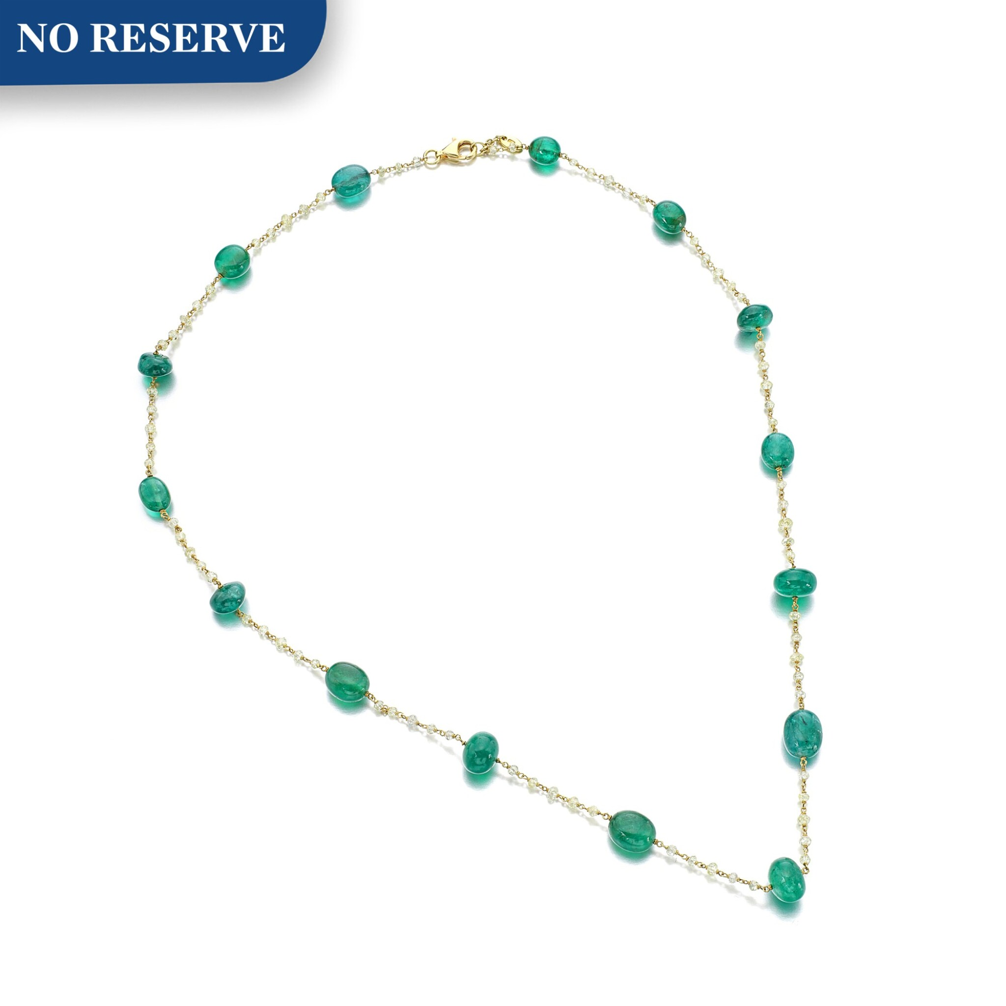 View full screen - View 1 of Lot 1213. Emerald and diamond necklace.