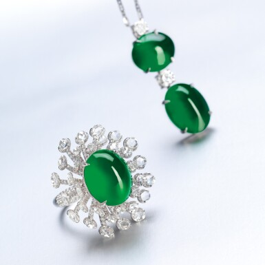 View 2. Thumbnail of Lot 1765. JADEITE AND DIAMOND PENDENT NECKLACE  天然「帝王綠」翡翠 配 鑽石 項鏈.