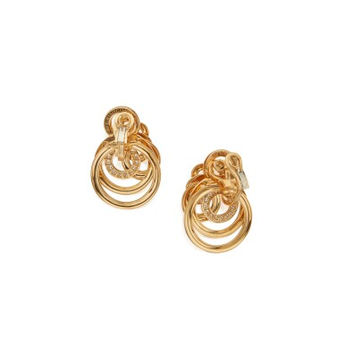 View 3. Thumbnail of Lot 503. de Grisogono | Pair of Gold and Diamond 'Gypsy' Pendant-Earclips.