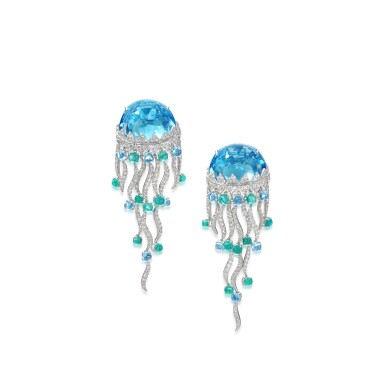 View 1. Thumbnail of Lot 22. Pair of topaz, emerald and diamond ear clips, 'Jellyfish'.