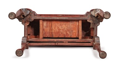 View 7. Thumbnail of Lot 45. Very Fine and Rare Queen Anne Figured Mahogany Turret-Top Games Table, Boston, Massachusetts, circa 1740.