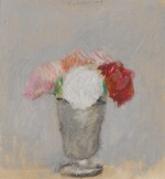 Red, Pink and White Flowers in a Vase Against a Grey Background