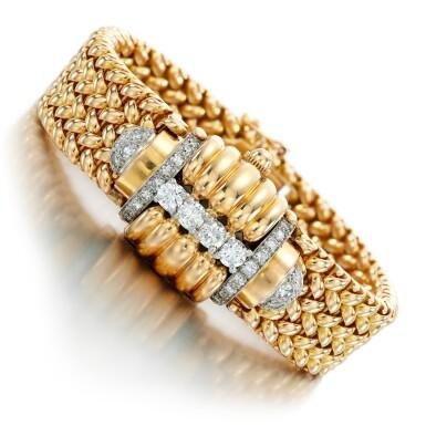 View 1. Thumbnail of Lot 73. Eska   Diamond watch/bracelet, 1950s.