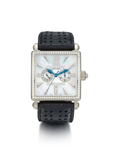 ROGER DUBUIS | GOLDEN SQUARE, A LIMITED EDITION WHITE GOLD AND DIAMOND-SET SINGLE BUTTON CHRONOGRAPH WRISTWATCH WITH MOTHER-OF-PEARL DIAL, CIRCA 2006