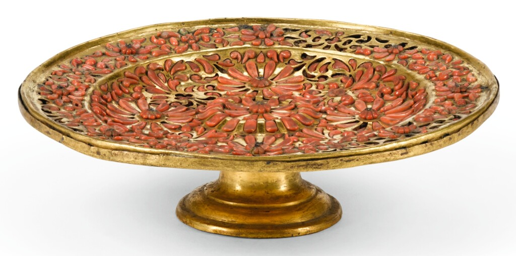 A SICILIAN GILT-COPPER AND CORAL TAZZA, TRAPANI, FIRST HALF 17TH CENTURY