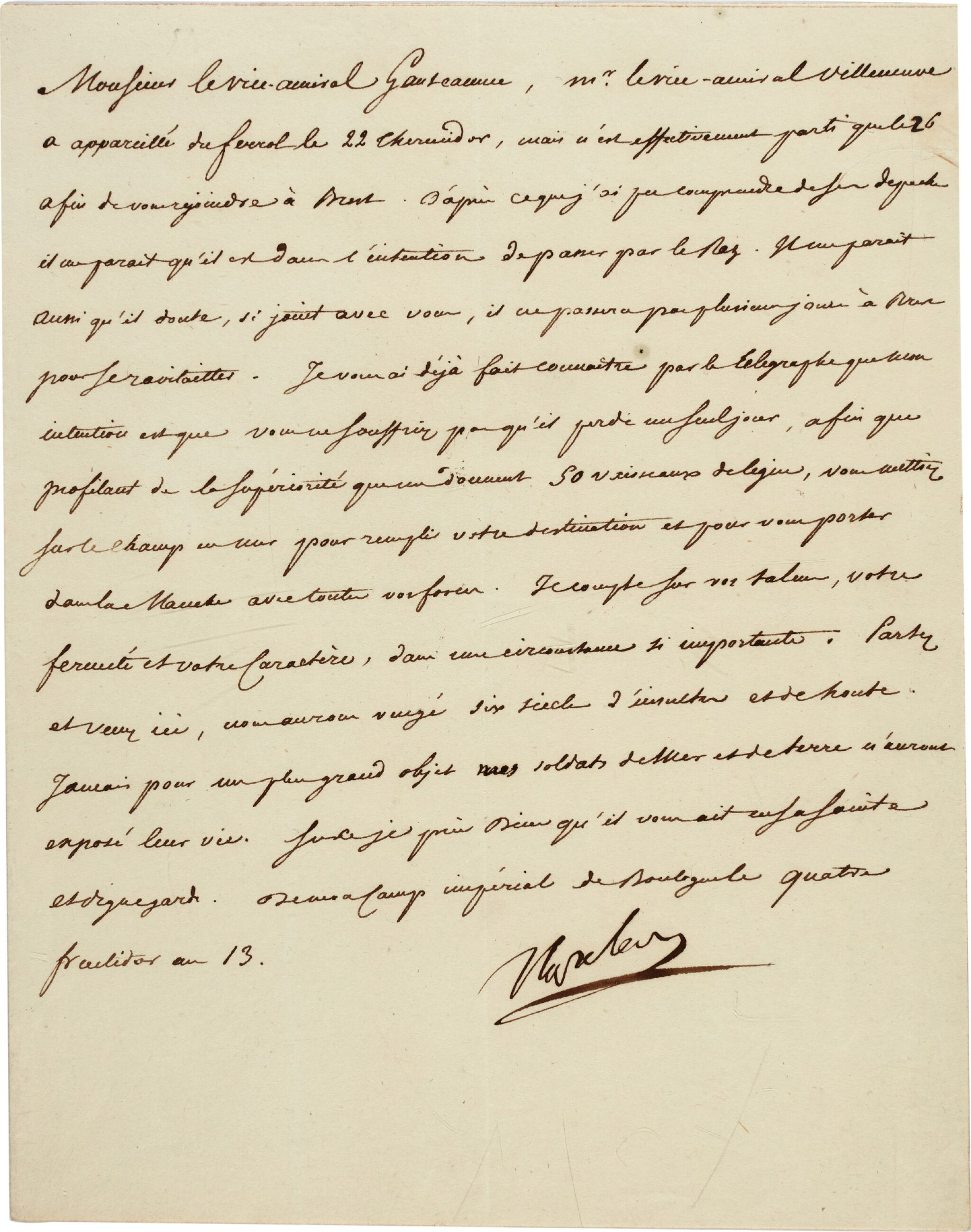 View full screen - View 1 of Lot 79. Napoleon I | letter signed to Admiral Ganteaume, ordering the invasion of England, 22 August 1805.