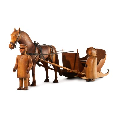 CARVED CHERRY AND MAPLE FIGURAL GROUP OF A FARMER AND WIFE, HORSE AND SLEIGH, VERMONT, CIRCA 1885