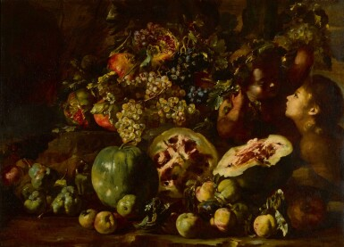 View 1. Thumbnail of Lot 123. Still life with watermelons, grapes, apples, pomegranates and other fruits, with two children.