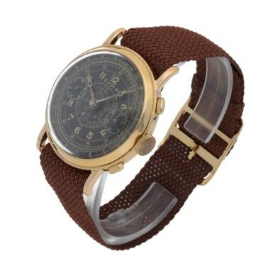 View 2. Thumbnail of Lot 431. YELLOW GOLD CHRONOGRAPH WRISTWATCH WITH TROPICAL DIAL CIRCA 1950.
