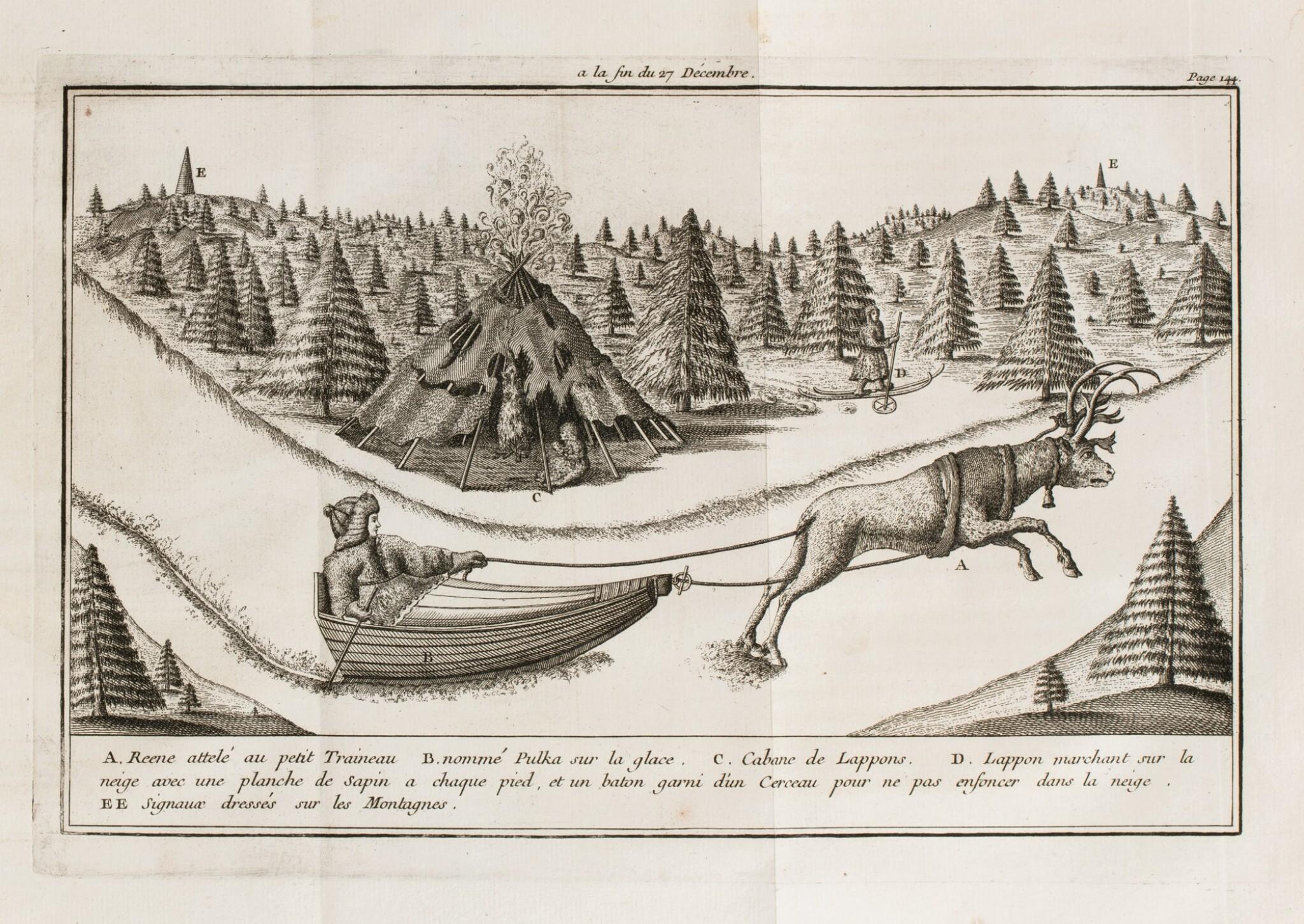 View full screen - View 1 of Lot 171. OUTHIER R. Journal d'un voyage au Nord en 1736 et 1737. Paris, 1744. In-4 veau fauve de l'époque.