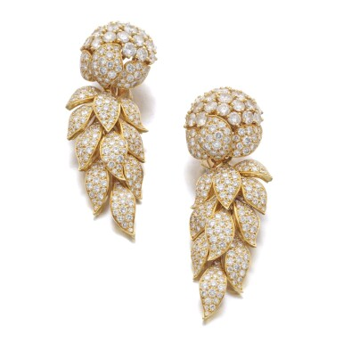View 1. Thumbnail of Lot 64. CARTIER   PAIR OF DIAMOND PENDENT EARRINGS.
