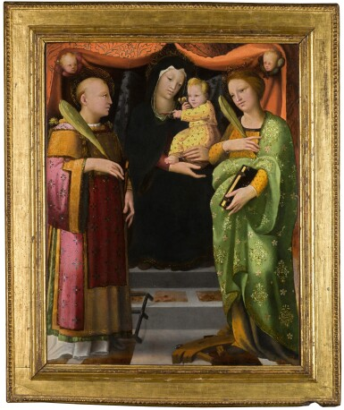 View 2. Thumbnail of Lot 27. The Virgin and Child with Saints Lawrence and Catherine of Alexandria   《聖母與聖嬰、聖勞倫斯及亞歷山大的凱薩琳》.