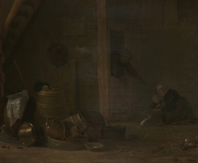 ATTRIBUTED TO CORNELIS SAFTLEVEN | A BARN INTERIOR WITH A STILL LIFE WITH KITCHEN UTENSILS IN THE FOREGROUND, TOGETHER WITH A WOMAN AND A CHILD PREPARING FOOD IN THE BACKGROUND, AND A MAN LEANING IN A DOORWAY