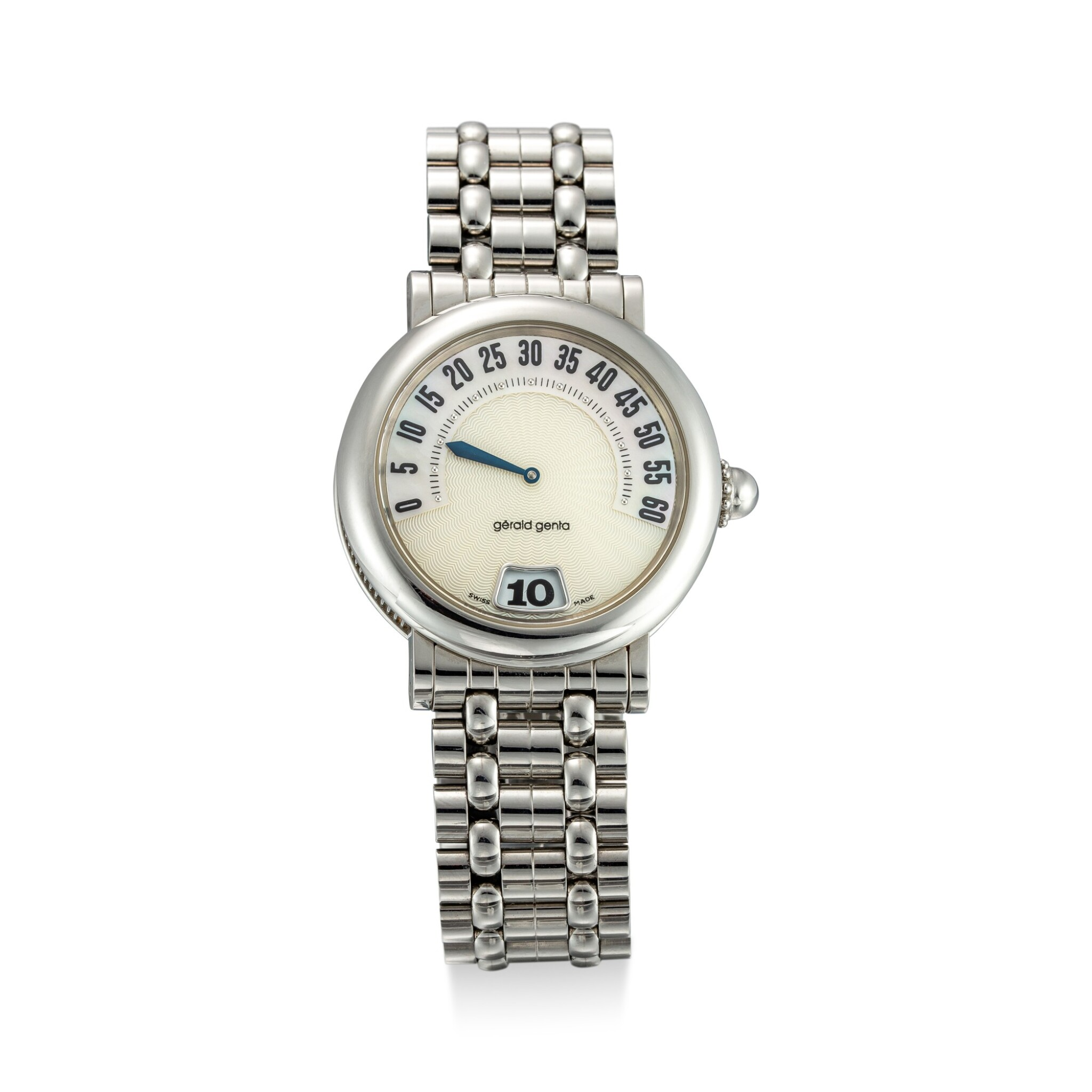 View full screen - View 1 of Lot 616. GERALD GENTA   RETRO, REFERENCE G.3634 A STAINLESS STEEL JUMPING HOUR WRISTWATCH WITH RETROGRADE MINUTE, MOTHER-OF-PEARL DIAL AND BRACELET, CIRCA 1995.