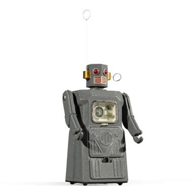 View 2. Thumbnail of Lot 287. A rare TM (Masudaya) battery-operated tin-plate Radicon Robot, Japan, circa 1958.