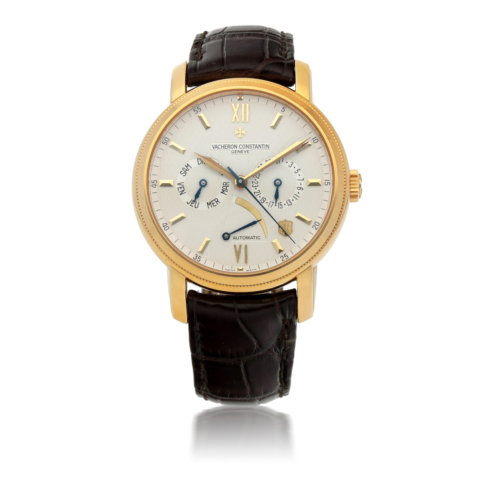 View full screen - View 1 of Lot 907.  VACHERON CONSTANTIN |  JUBILEE 1755, REF 85250  YELLOW GOLD WRISTWATCH WITH DAY, DATE AND POWER RESERVE INDICATION   CIRCA 2005.