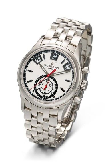 View 2. Thumbnail of Lot 362. PATEK PHILIPPE   REFERENCE 5960 A STAINLESS STEEL ANNUAL CALENDAR FLYBACK CHRONOGRAPH BRACELET WATCH WITH POWER RESERVE AND DAY AND NIGHT INDICATION, CIRCA 2016.
