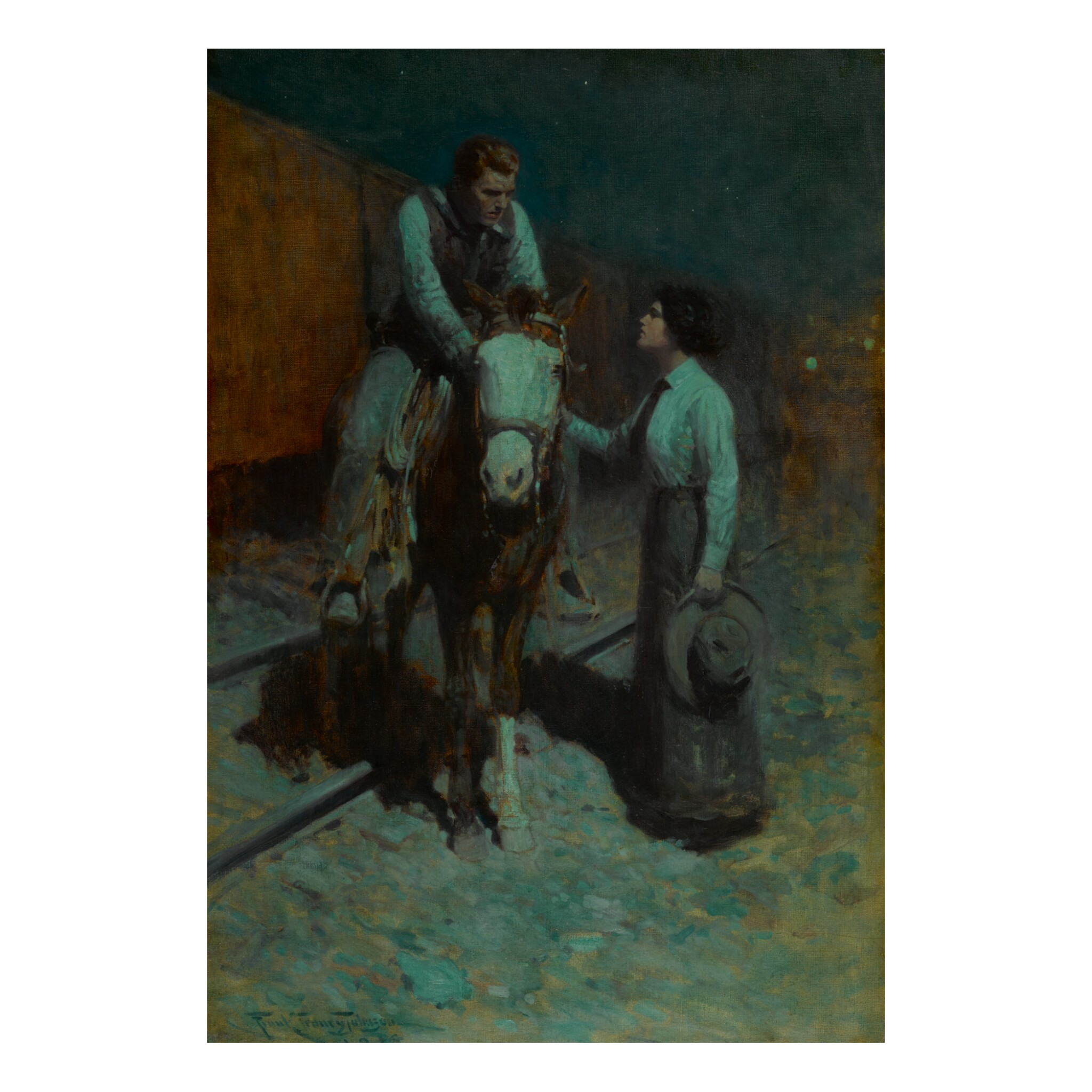 View full screen - View 1 of Lot 51.  FRANK TENNEY JOHNSON   GIRL AND COWBOY.