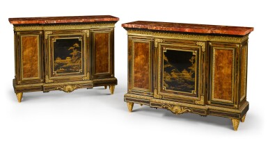 View 2. Thumbnail of Lot 179. A pair of Louis XIV style gilt-bronze mounted calamander and hardwood breakfront side cabinets, English, last quarter 19th century.