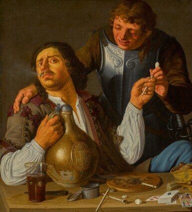SCHOOL OF UTRECHT, 17TH CENTURY | Gamblers: two figures smoking and drinking with playing cards