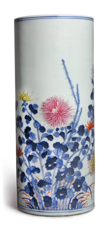 View 1. Thumbnail of Lot 1140. A BLUE AND WHITE AND FAMILLE-ROSE 'CHRYSANTHEMUM' HAT STAND, REPUBLIC PERIOD .