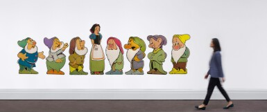 View 10. Thumbnail of Lot 6. SNOW WHITE AND THE SEVEN DWARFS (1937) SET OF 8 STANDEES, US.