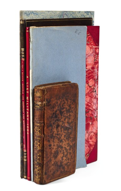 Army lists and other works, 5 volumes, 1684-1742, including a Prospect of Hounslow Heath