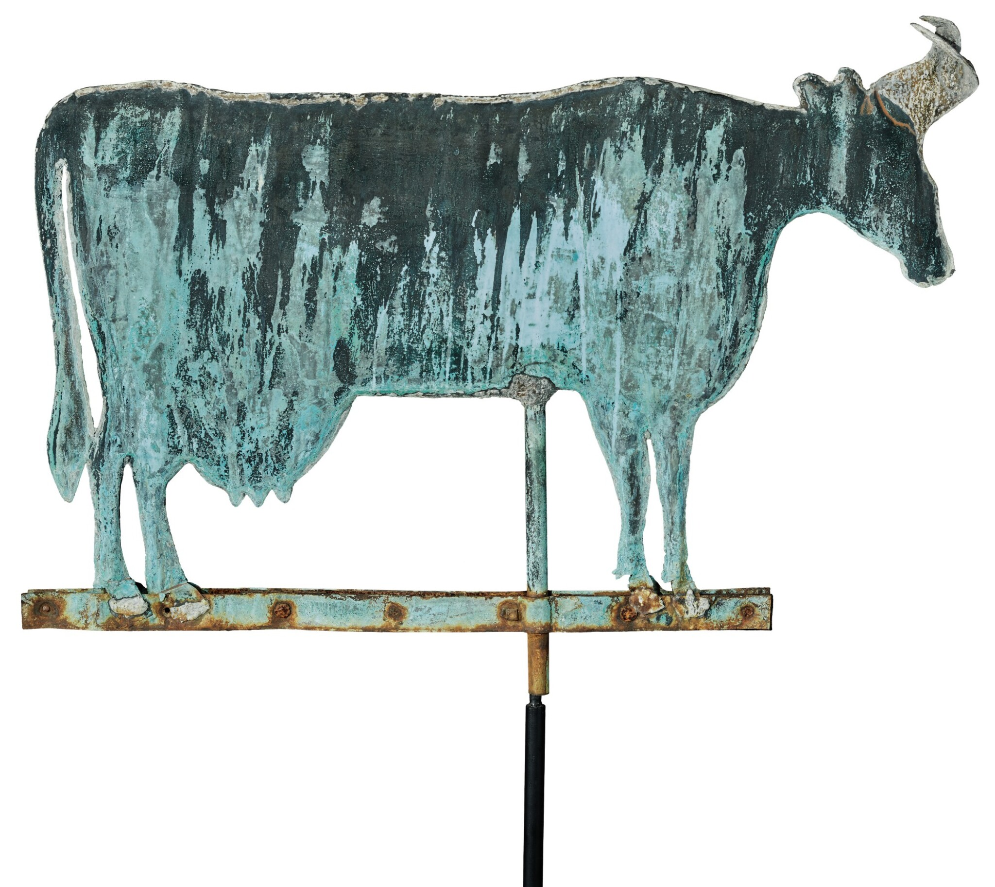 View full screen - View 1 of Lot 1467. VERY FINE AND LARGE AMERICAN MOLDED SHEET-COPPER AND ZINC COW WEATHERVANE, CIRCA 1880.