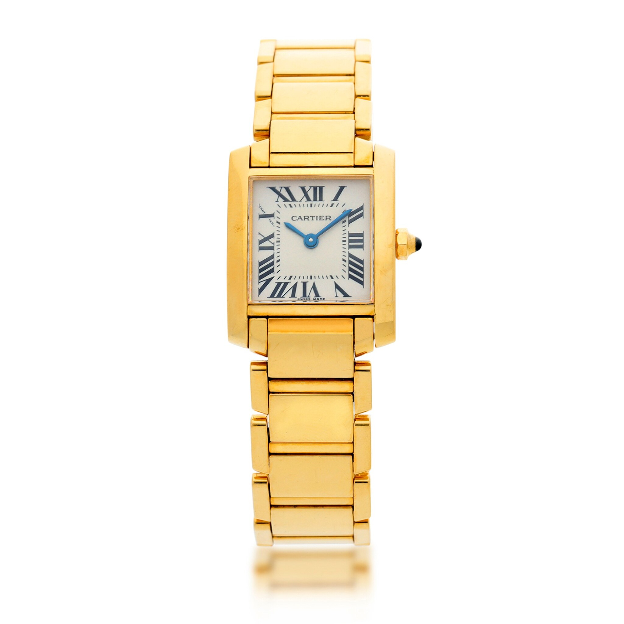 View full screen - View 1 of Lot 84. REFERENCE 2385 TANK FRANCAISE A YELLOW GOLD RECTANGULAR BRACELET WATCH, CIRCA 1999.