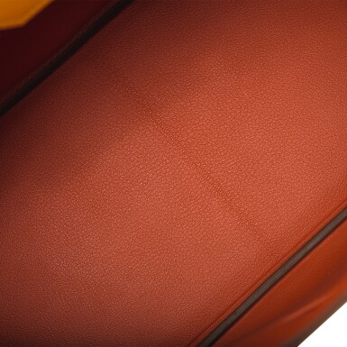 View 7. Thumbnail of Lot 15. Hermès Horseshoe Stamped (HSS) Bi-color Jaune D'Or and Sanguine Birkin 35cm of Epsom Leather with Palladium Hardware.