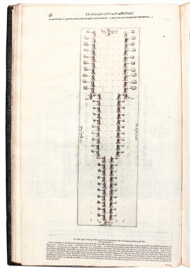 View 4. Thumbnail of Lot 242. Hexham, Principles of the art militarie, London, 1637, black morocco gilt, presentation copy to Charles II.