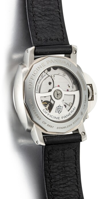 View 3. Thumbnail of Lot 355. PANERAI   LUMINOR, REFERENCE 270 A STAINLESS STEEL DUAL TIME ZONE WRISTWATCH WITH DATE, DAY AND NIGHT AND POWER RESERVE INDICATION, CIRCA 2008.