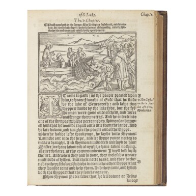 View 1. Thumbnail of Lot 109. BIBLE IN ENGLISH. NEW TESTAMENT (TYNDALE'S VERSION)   [The newe Testament of oure sauiour Iesus Christe. Faythfully translated oute of the Greke. With the notes and expositions of the darke places therein. London: by (S. Mierdman for) Rycharde Iugge, 1553].