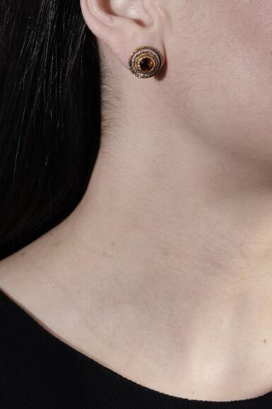View 4. Thumbnail of Lot 1242. Pair of citrine earrings.